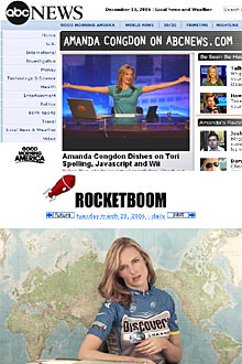 Amanda Congdon at ABC News, and at Rocketboom in the old days. Screenshots.