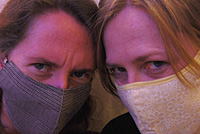 Face masks to avoid some of the exhaust fumes. We look like crooks! :)