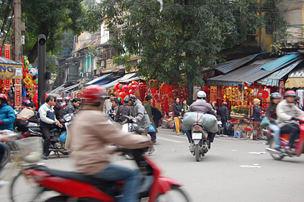 Traffic in Hanoi's old quarter