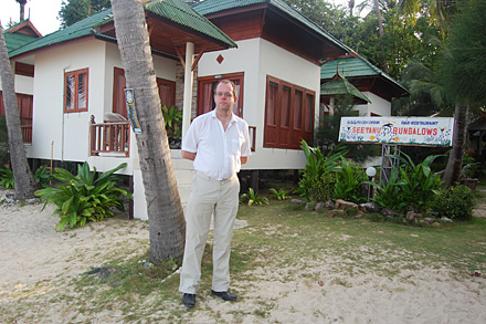 K outside our bungalow at Chao Phao beach